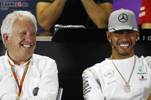 """Lewis Hamilton: """"Ich kenne Charlie seit 2007. Ich bete für ihn und seine Familie. Was er für diesen Sport geleistet hat, sein Arbeitseinsatz ... Er war wirklich ein Eckpfeiler der Formel 1, wie Toto gesagt hat. Eine Ikone dieses Sports."""""""