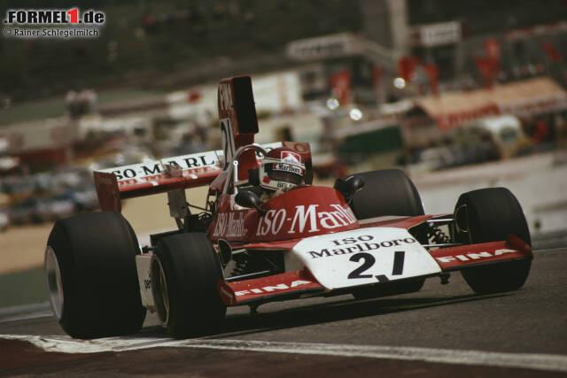 Ebenfalls 1974 setzt das Williams-Team den FW02 ein. Hier beim Grand Prix in Jarama mit dem Dänen Tom Belso am Steuer.