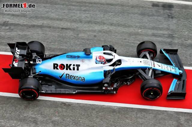 Am dritten Tag der Formel-1-Wintertests 2019 in Barcelona ist der neue Williams FW42 endlich fahrbereit. Hier sind die ersten Impressionen des Neuwagens auf der Strecke, am Steuer sitzt George Russell!