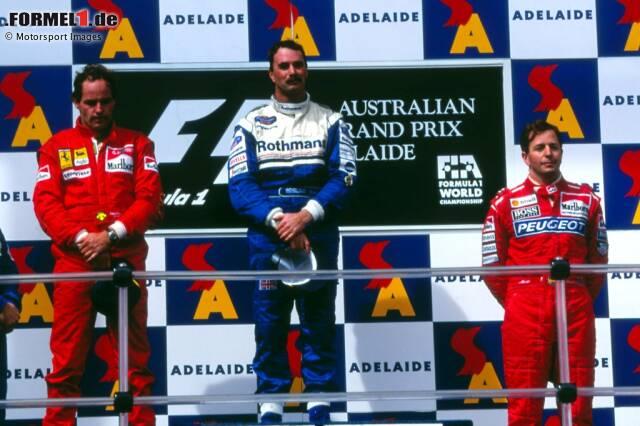Adelaide 1994: Nigel Mansell gewinnt mit 41 Jahren ein letztes Mal in der Formel 1. Das macht ihn aber nicht zum einzigen Ü40-Sieger der Formel-1-Historie, und noch lange nicht zum ältesten Rennsieger. Das zeigt unsere Fotostrecke!