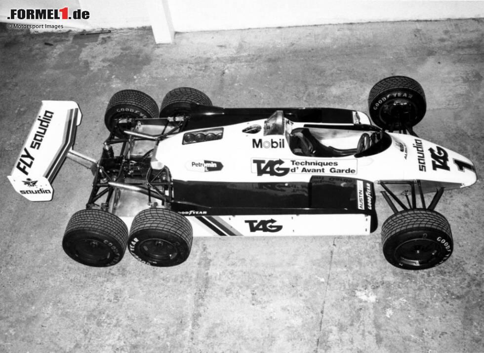 """Manche Autos kommen nie über das Entwicklungsstadium hinaus. Und manche sehen dabei sogar noch besonders spektakulär aus. In dieser Fotostrecke zeigen wir """"Mule Cars"""" der Formel 1, die für spezielle Entwicklungsteile gebaut umgebaut wurden - wie den Williams FW08B mit sechs Rädern!"""