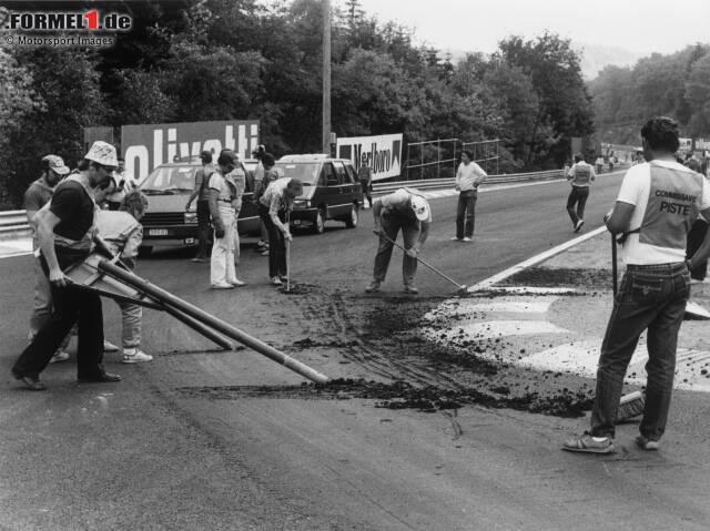 Spa-Francorchamps im Juni 1985: Nichts geht mehr, weil der neu aufgetragene Asphalt den Belastungen nicht standhält. Was dann passiert, geht in die Formel-1-Geschichte ein. Wir blicken zurück!